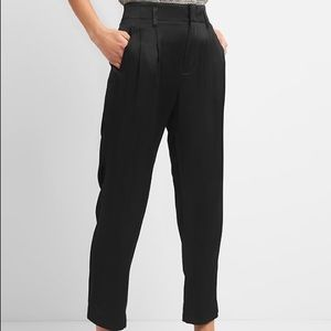 Pleated Trousers In Satin True Black